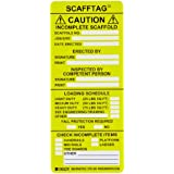 "Brady SCAF-STSI594 7-5/8"" Height, 3-1/4"" Width, Polyester, Yellow Color Scafftag Caution Inserts (Pack Of 100)"