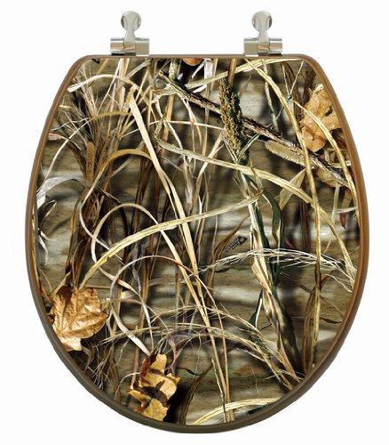 TOPSEAT 3D Toilet Seat, Realtree ® Advantage Max 4 Camouflage, Round,  Chrome Metal Hinges, Natural Oak