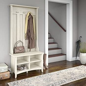 By Home Design Entryway Hall Tree, Coat Rack,With Storage Bench In Antique White