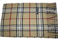 Cashmere Feel Unisex Pashmina Scarf in Checks and Plaid (CAMEL)