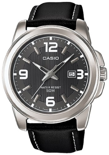 Casio Men'S Mtp1314L-8Av Black Leather Quartz Watch With Black Dial