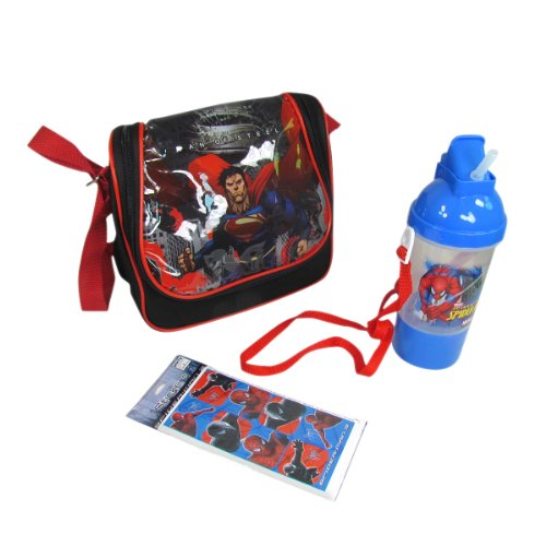 "Superman Lunch Bag (8.5""x8""x4""), Spiderman Water Bottle / Canteen with a Strap, and Spiderman Stickers - Best Superman Gift Ideas for Boys and Kids - 3 Item Bundle"
