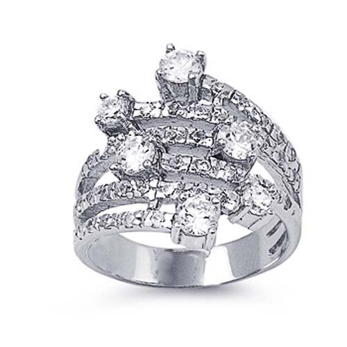 Little Treasures Rhodium Plated Sterling Silver Wedding & Engagement Ring Clear CZ Ladies Ring