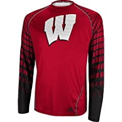 Wisconsin Badgers Adidas 2013 Toxic Long Sleeve Performance Shirt by adidas