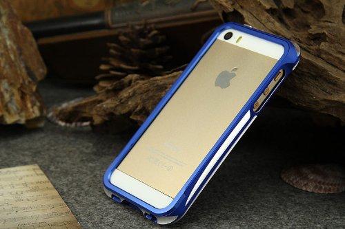 Moon Monkey Aluminum Bumper Push-Pull Cover For Iphone 5/5S (White+Dark Blue)