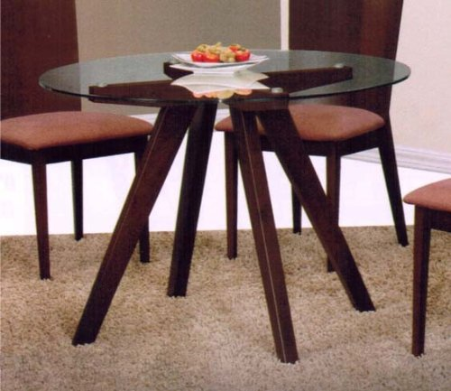 Cheap Dining Table with Glass Table Top in Espresso Finish (VF_AM12625)