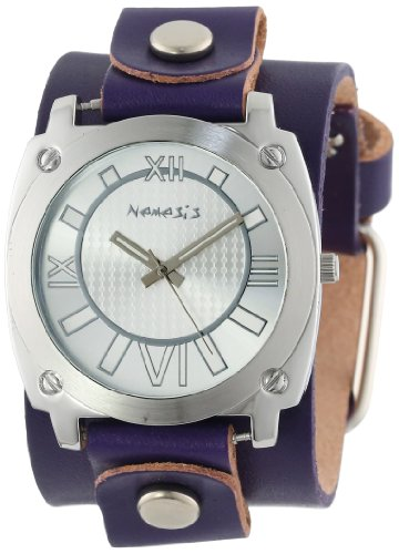Nemesis Women's PLGB066S Roman Numeral Collection Silver on Purple Leather Band Watch