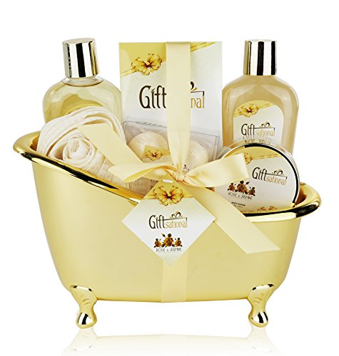 Spa Gift Basket with Sensual Rose & Jasmine Fragrance - Perfect Holiday, Anniversary or Birthday Gift for Men and Women - Bath Set Includes Shower Gel, Bubble Bath, Bath Salts, Bath Bombs and More!