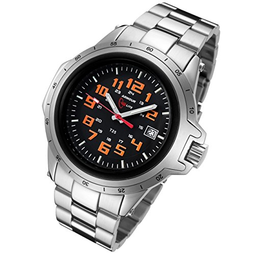 Armourlite ColorBurst Shatterproof Scratch proof Glass Orange Tritium Watch 10 yr battery w/ Stainless Steel Band AL211