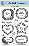 Hot Off The Press 6 x 8-inch Labels and Frames Acrylic Stamps Sheet, Transparent