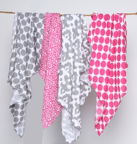 Ikat Pink/Grey Swaddling Muslin Blankets set of 4
