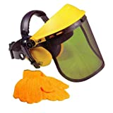 Advanced Handy Grass & Hedge Trimmer Safety Visor with Ear Defenders & Gloves (1 pair)w/Min 3yr Cleva® Warranty