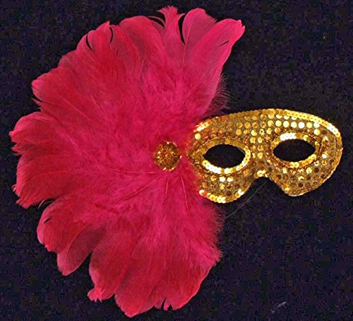 Gypsy Gold Sequin Feather Mask Mardi Gras Halloween Costume