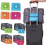 mark zenis 旅行バッグ ボストンバッグ 機内用 折りたたみ スーツケースの持ち手に通せる 予備バッグ ブルー