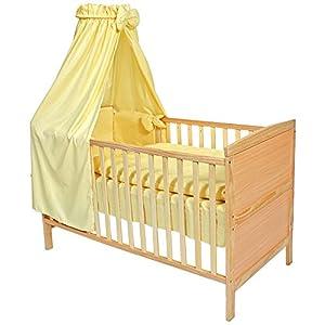 TecTake Cama de bebé con dosel cuna infantil madera amarillo de TecTake en BebeHogar.com