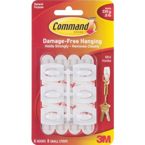 Command Mini-Hooks, White, 6-Hook photo