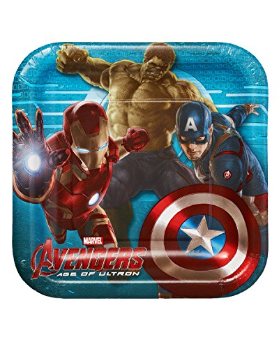 "American Greetings 013051541224 Avengers 7"" Square Plate (8 Count) - 1"