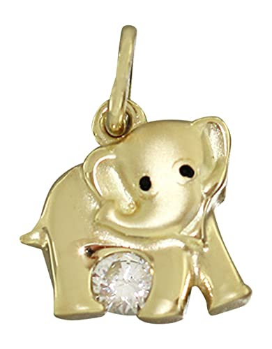 Elefant 750 Gold Small Pendant with Zircons Hobra-Gold Gold Gold Elephant Pendant