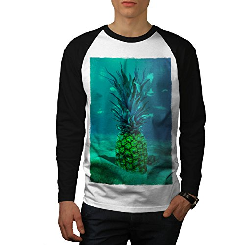 Underwater Pineapple Sea Fruit Men NEW White M Baseball LS T-shirt | Wellcoda (Sea Creature Pasta compare prices)