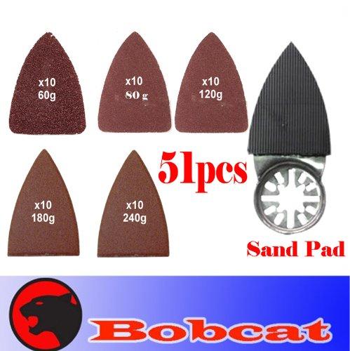 51 Pcs Finger Type Detail Sanding Kit Sanding Pad W/ Velcro Oscillating Multi Tool Saw Blades Sand For Fein Multimaster Bosch Multi-X Craftsman Nextec Dremel Multi-Max Ridgid Dremel Makita Chicago
