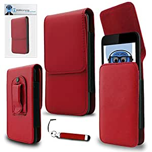 iTALKonline Vodafone Smart Speed 6 Red PREMIUM PU Leather Vertical Executive Side Pouch Case Cover Holster with Belt Loop Clip and Magnetic Closure and Re-Tractable Captive Touch Tip Stylus Pen with Rubber Tip