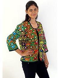 Megh Craft Women's Tribal Banjara Style Coat/Jacket-Boho Hippie Style Waist Coat-Gypsy Kutch Embroidered Coat/...