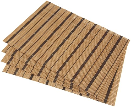 DII Stripe Bamboo Natural/Chocolate Placemat, Set of 4