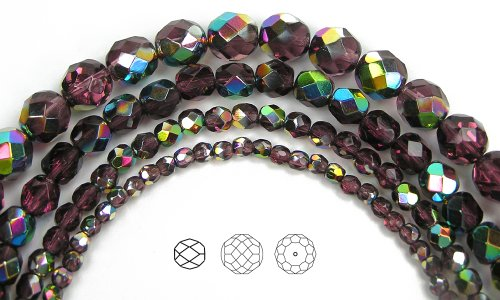 6mm (68) Amethyst Vitrail coated, Czech Fire Polished Round Faceted Glass Beads, 16 inch strand