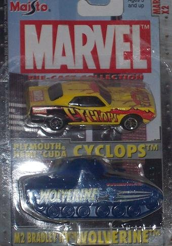 Maisto Ultimate Marvel Double Pack Cyclops Hemi 'Cuda and Wolverine M2 Bradley Tank 1:64 Scale Diecast Car - 1