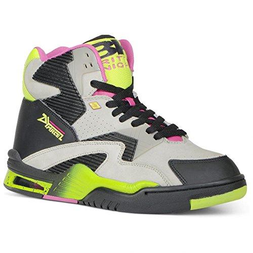 British Knights Men's Hightop Sneaker, G Grey/Black/Lime Green/Cobaltia, 8 M US