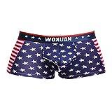 【ノーブランド 品】男性 ファッション アメリカ風 国旗柄 下着 ボクサー ブリーフ ショーツ パンツ 赤 全4サイズ - Schwarz, L