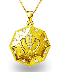 Exxotic Festive Gold Plated 925 Silver Khanda Symbol Pendant for Men and Women