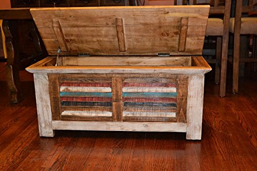 Crafters and Weavers Rustic Distressed Reclaimed Solid Wood Painted Trunk Coffee Table 2