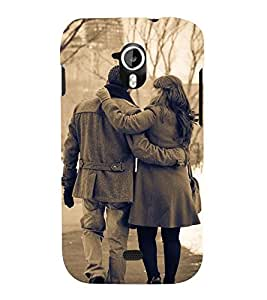 black and white vintage pic of a couple in snowfall 3D Hard Polycarbonate Designer Back Case Cover for Micromax Canvas HD A116::Micromax Canvas HD Plus A116Q