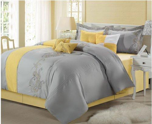 Paisley Classic 8 Piece Comforter Set, Yellow & Grey, King