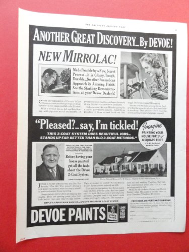 Devoe Paints,1938 Print Ad. (new mirrolac!/woman painting.) Original Vintage Magazine Print Art. (Devoe Paint compare prices)