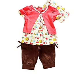 PanDaDa Baby Girls Fruits Pattern T-shirt Shorts Pants Outfits Sets 0-3 Years