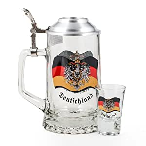German Flag Glass Beer Stein with Pewter Lid and Shot Glass