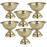 Odishabazaar Set Of 6 - Handmade Indian Puja Brass Oil Lamp - Diya Lamp Engraved Design - 2 X 2.5 X 2.5 Inch,...