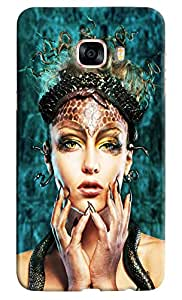 Omnam Girl With Makeup Effect Printed Designer Back Cover Case For Samsung Galaxy C7