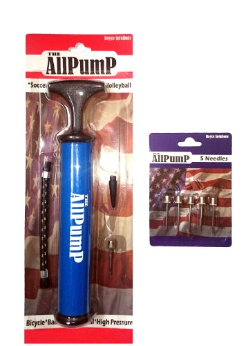 Ball Pump - The All Pump: Ball, Exercise, Balloon and Bicycle Pump - For All Sports - High Pressure - Compatible with Basketball, Football, Volleyball, Soccer, Swiss Ball/Balance Ball, Balloons and Bicycles - 5 Spare Ball Needles
