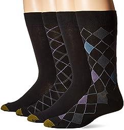 Gold Toe Men\'s Summer Argyle Crew 4-Pack Sock, Black, 10-13