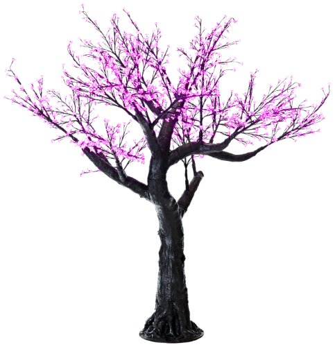 Arclite Nbl-230-2 Bonsai Cherry Blossom Tree With Leaves, 0.9M Height, With Natural Brown Trunk, Pink Crystals And Pink Lights