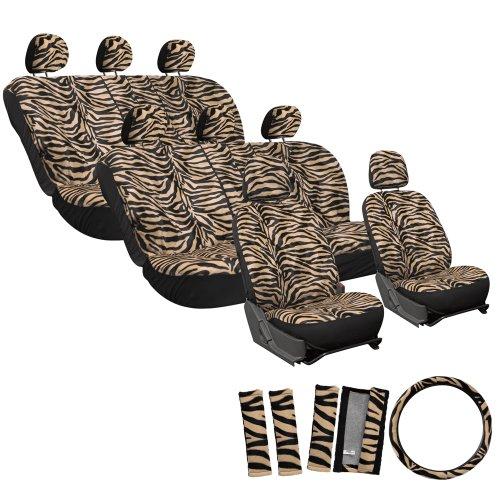 Oxgord Velour Zebra/Tiger Stripe Seat Cover Set For Gmc Extended Cargo Vans, Airbag Compatible, Split Bench, Brown & Black front-636051