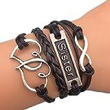 Unendlich Herzen Schwester Infinity Karma schwarz gestrandet Mode Armband