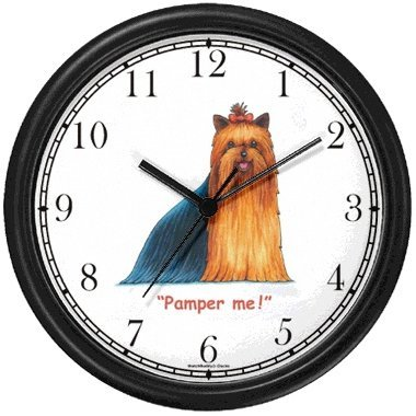 Yorkshire Terrier Dog Cartoon or Comic - JP Animal Wall Clock by WatchBuddy Timepieces Slate Blue Frame