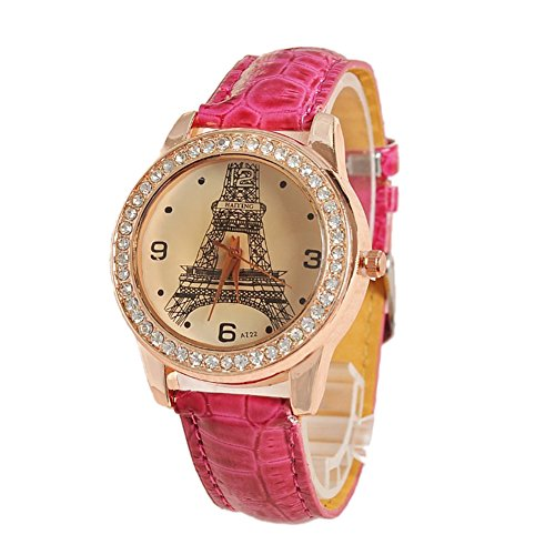Dayan Women'S Eiffel Tower Design Pu Analog Quartz Wrist Fashion Watch Pink