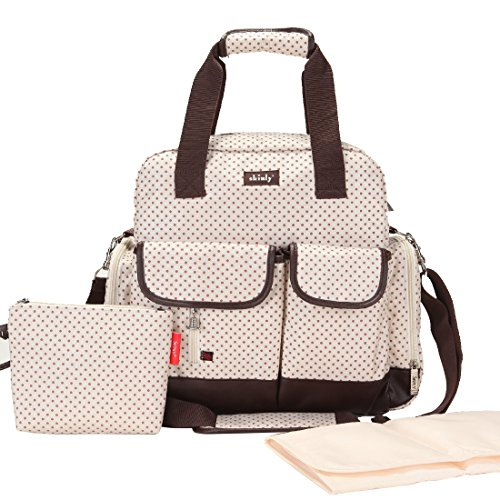 Damai Large Dots Diaper Tote Bag / Backpack / Shoulder Bag 3 Carrying Ways (Beige)