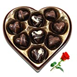 Chocholik 9Pc Bittersweet Collection Of Chocolates With Red Rose Valentine Day Gifts