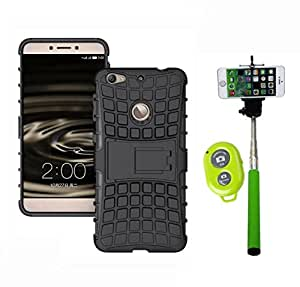 Hard Dual Tough Military Grade Defender Series Bumper back case with Flip Kick Stand for LETV IS + Wireless Bluetooth Remote Selfie Stick for all Smart phones by carla store.